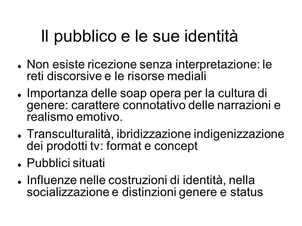 Il pubblico e le sue identità Non esiste ricezione senza interpretazione: le reti discorsive e le risorse mediali Importanza delle soap opera per la c