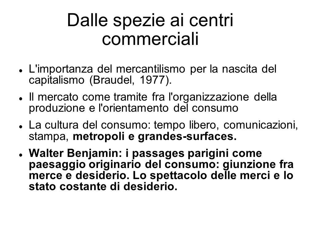 Dalle spezie ai centri commerciali L'importanza del mercantilismo per la nascita del capitalismo (Braudel, 1977). Il mercato come tramite fra l'organi