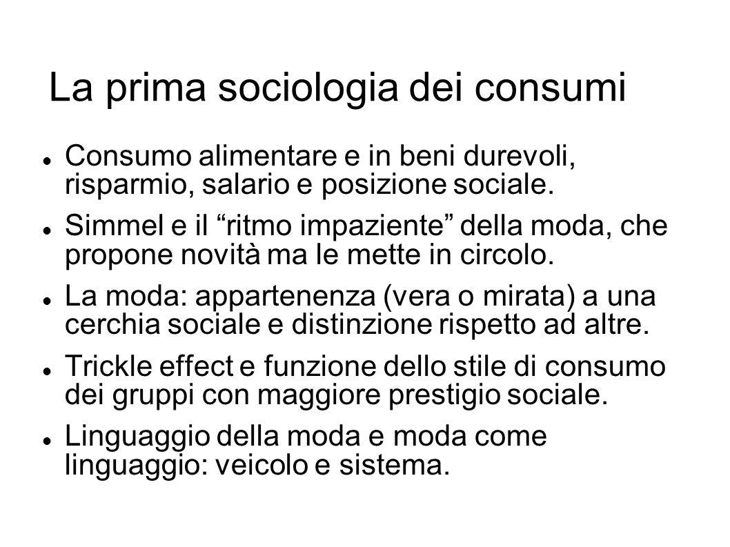 La prima sociologia dei consumi Consumo alimentare e in beni durevoli, risparmio, salario e posizione sociale. Simmel e il ritmo impaziente della moda