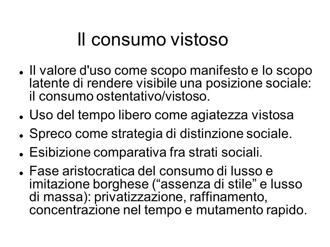 Il consumo vistoso Il valore d'uso come scopo manifesto e lo scopo latente di rendere visibile una posizione sociale: il consumo ostentativo/vistoso.