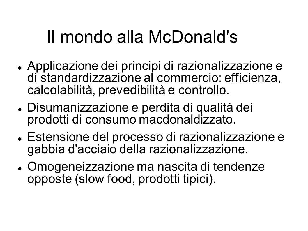 Il mondo alla McDonald's Applicazione dei principi di razionalizzazione e di standardizzazione al commercio: efficienza, calcolabilità, prevedibilità