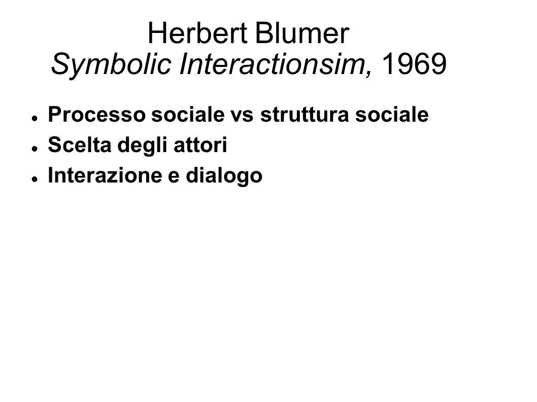 Herbert Blumer Symbolic Interactionsim, 1969 Processo sociale vs struttura sociale Scelta degli attori Interazione e dialogo