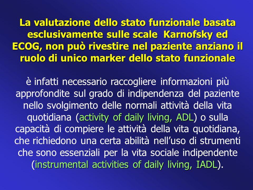 La valutazione dello stato funzionale basata esclusivamente sulle scale Karnofsky ed ECOG, non può rivestire nel paziente anziano il ruolo di unico ma