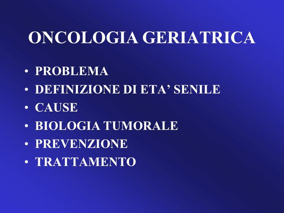 ONCOLOGIA GERIATRICA ASPETTATIVA DI VITA RIDOTTA RISCHIO DI COMPLICAZIONI COSTO AGAINST PREVENTION