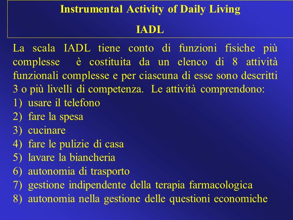 La scala IADL tiene conto di funzioni fisiche più complesse è costituita da un elenco di 8 attività funzionali complesse e per ciascuna di esse sono d