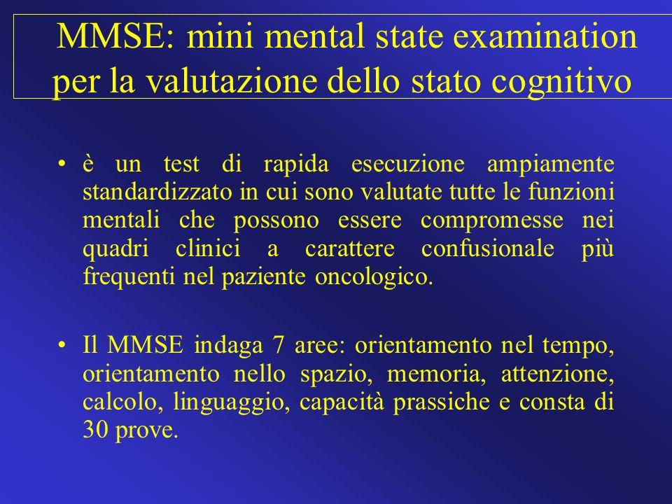 MMSE: mini mental state examination per la valutazione dello stato cognitivo è un test di rapida esecuzione ampiamente standardizzato in cui sono valu