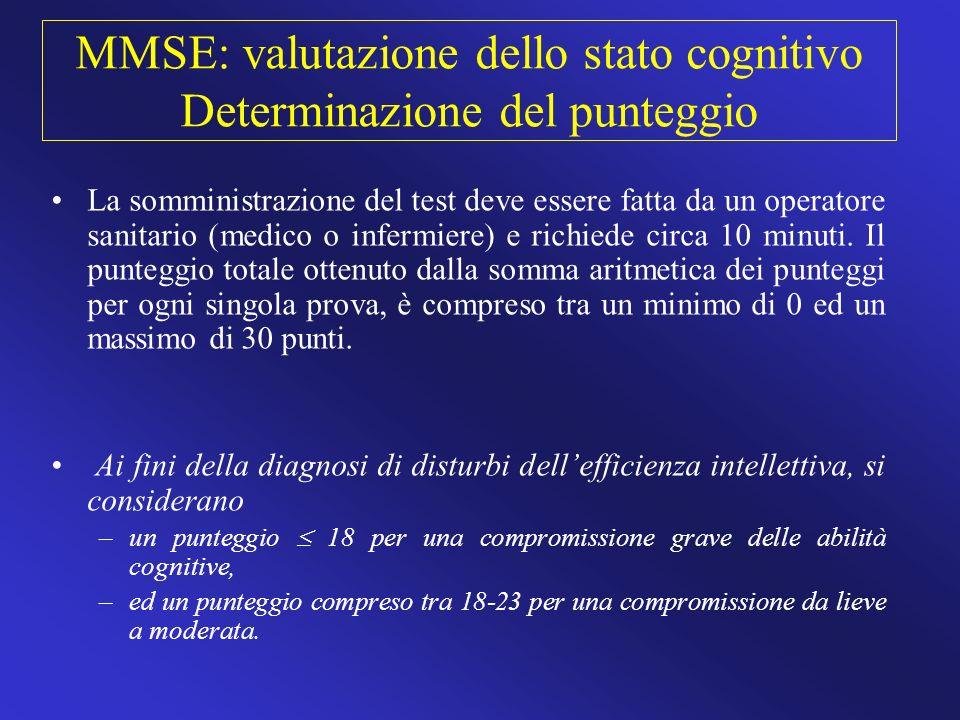 MMSE: valutazione dello stato cognitivo Determinazione del punteggio La somministrazione del test deve essere fatta da un operatore sanitario (medico