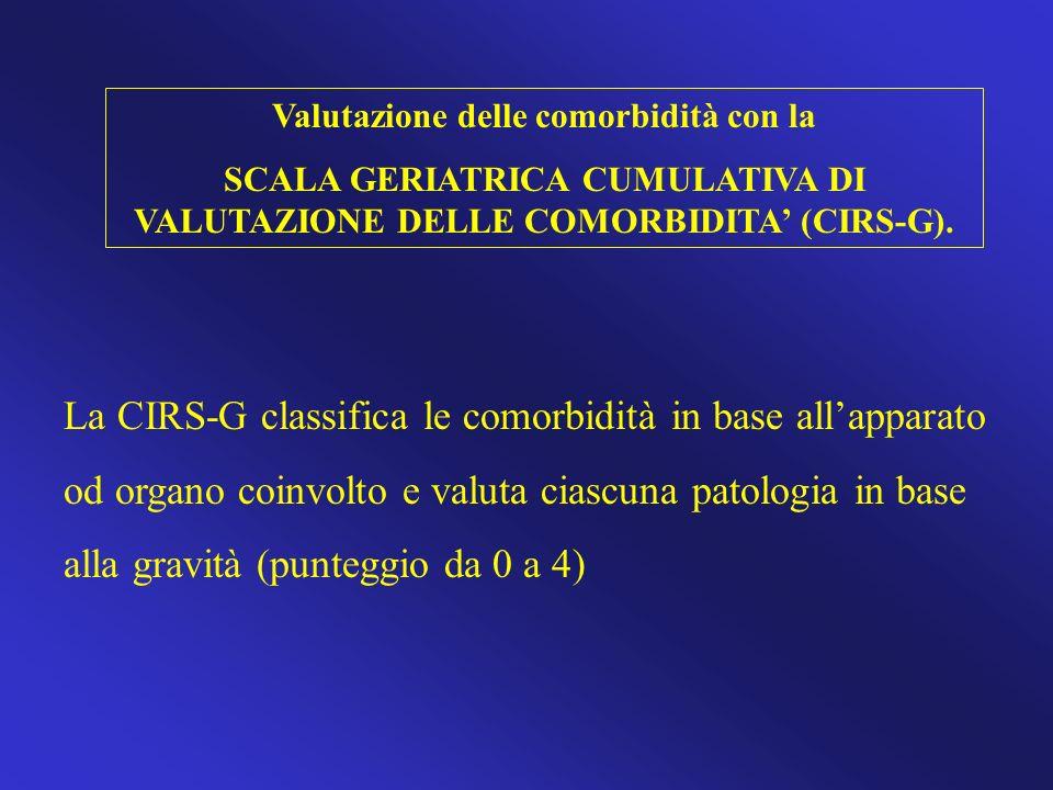 Valutazione delle comorbidità con la SCALA GERIATRICA CUMULATIVA DI VALUTAZIONE DELLE COMORBIDITA (CIRS-G). La CIRS-G classifica le comorbidità in bas