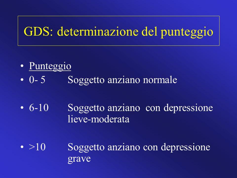 GDS: determinazione del punteggio Punteggio 0- 5 Soggetto anziano normale 6-10 Soggetto anziano con depressione lieve-moderata >10 Soggetto anziano co
