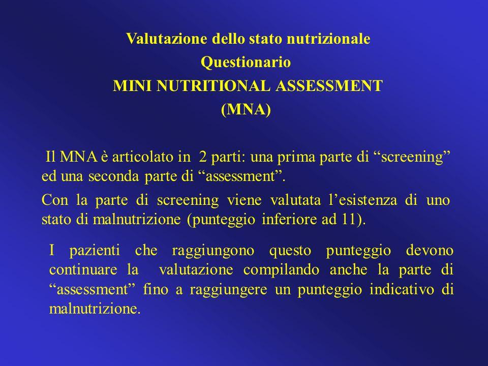 Valutazione dello stato nutrizionale Questionario MINI NUTRITIONAL ASSESSMENT (MNA) Il MNA è articolato in 2 parti: una prima parte di screening ed un
