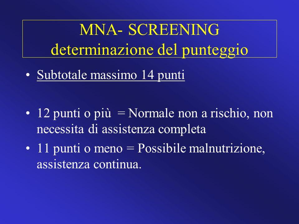 MNA- SCREENING determinazione del punteggio Subtotale massimo 14 punti 12 punti o più = Normale non a rischio, non necessita di assistenza completa 11