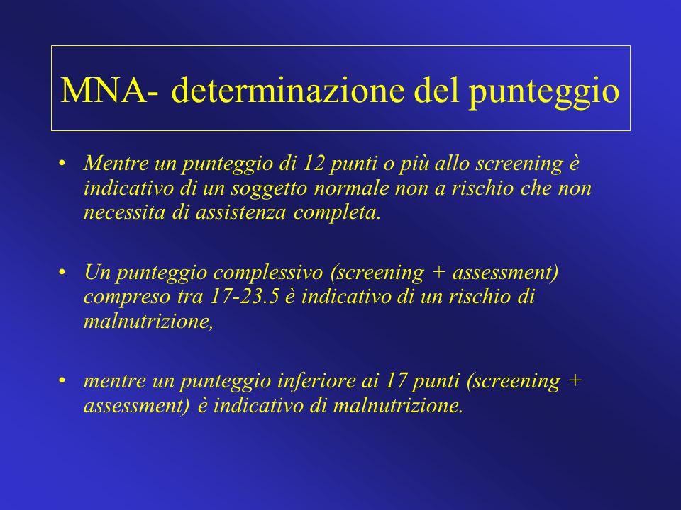MNA- determinazione del punteggio Mentre un punteggio di 12 punti o più allo screening è indicativo di un soggetto normale non a rischio che non neces