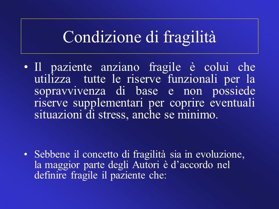 Condizione di fragilità Il paziente anziano fragile è colui che utilizza tutte le riserve funzionali per la sopravvivenza di base e non possiede riser