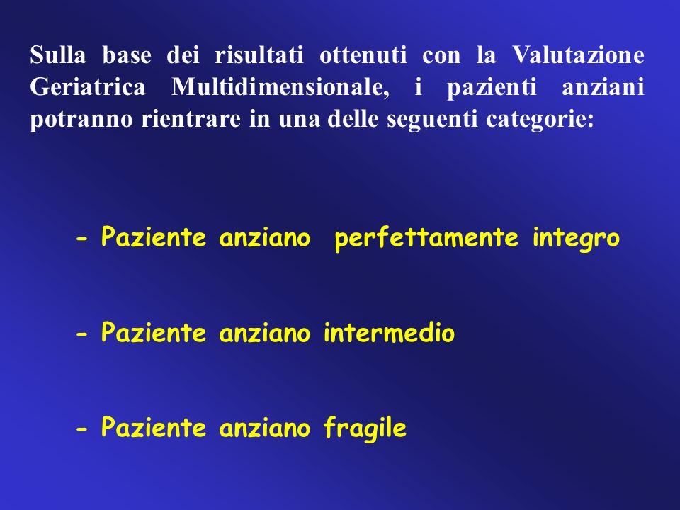 Sulla base dei risultati ottenuti con la Valutazione Geriatrica Multidimensionale, i pazienti anziani potranno rientrare in una delle seguenti categor