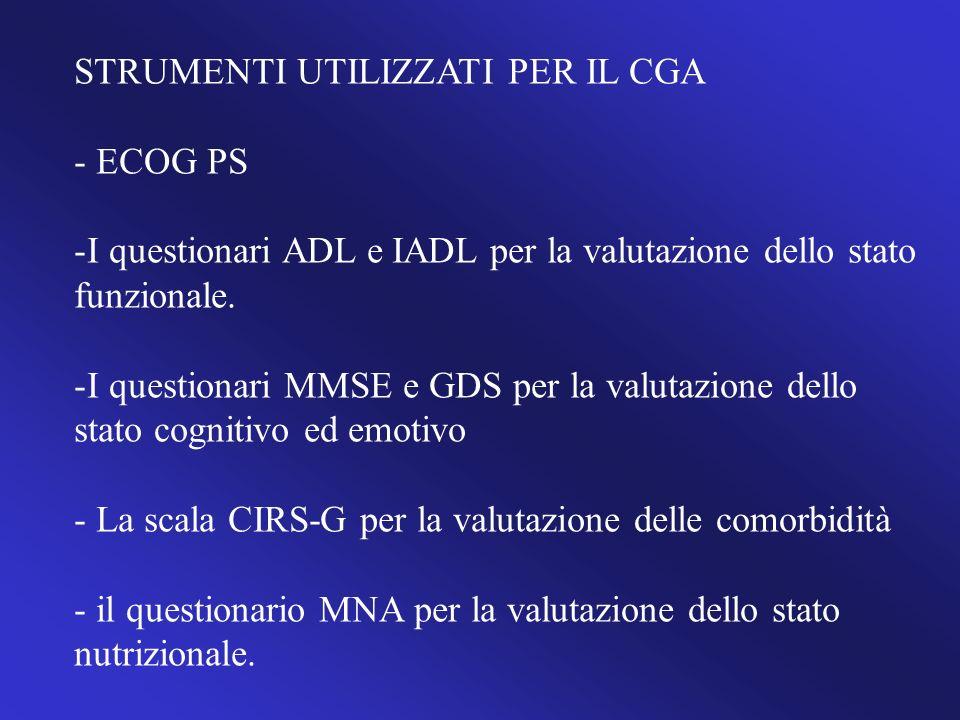 STRUMENTI UTILIZZATI PER IL CGA - ECOG PS -I questionari ADL e IADL per la valutazione dello stato funzionale. -I questionari MMSE e GDS per la valuta