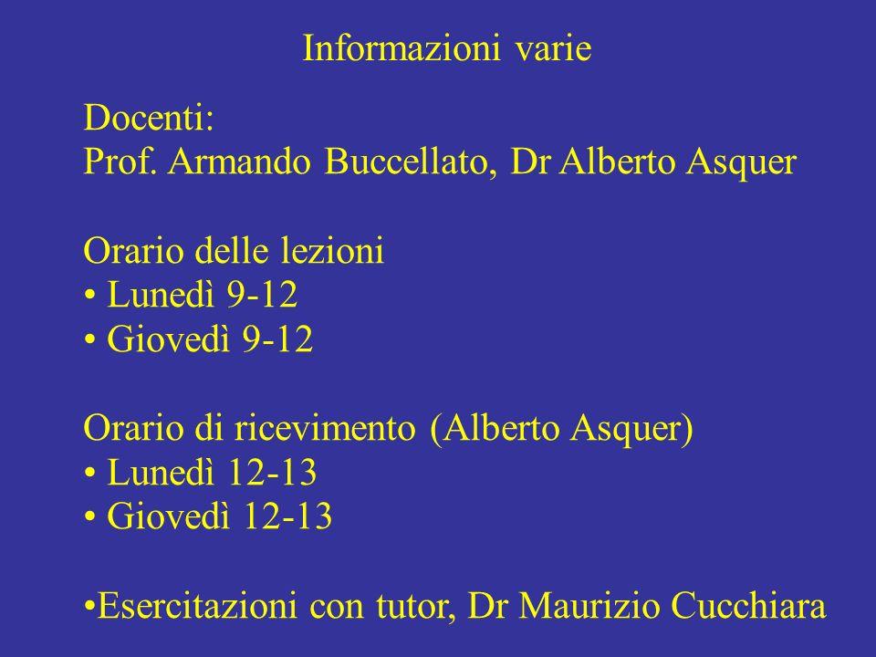 Informazioni varie Docenti: Prof. Armando Buccellato, Dr Alberto Asquer Orario delle lezioni Lunedì 9-12 Giovedì 9-12 Orario di ricevimento (Alberto A