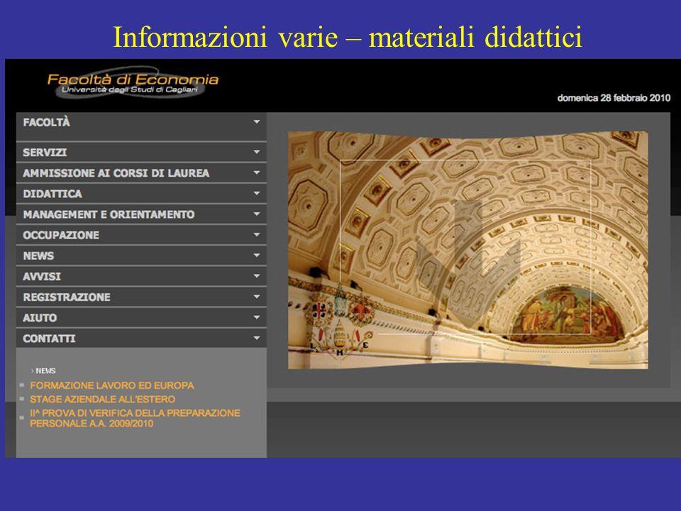 Informazioni varie – materiali didattici