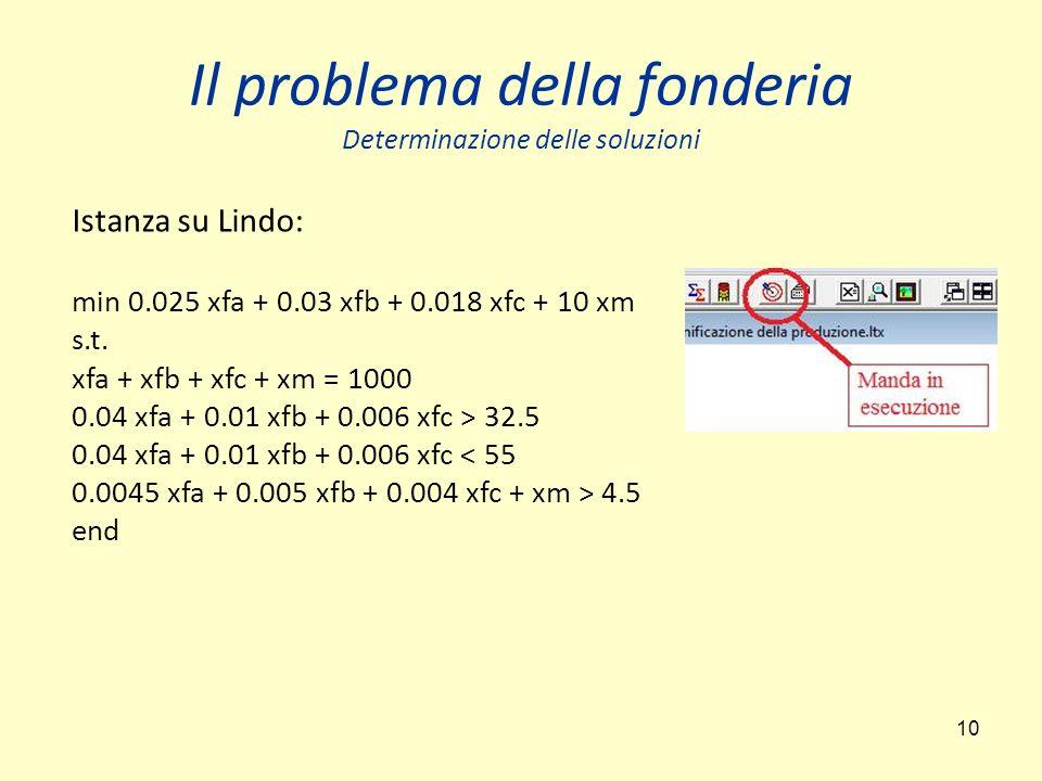 10 Il problema della fonderia Determinazione delle soluzioni Istanza su Lindo: min 0.025 xfa + 0.03 xfb + 0.018 xfc + 10 xm s.t.