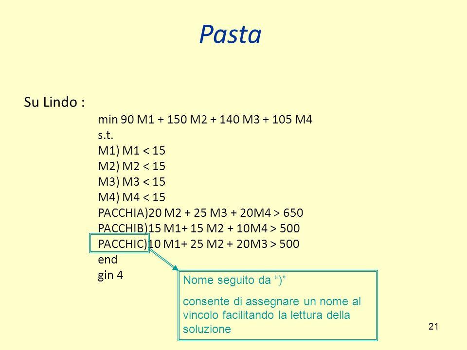 21 Su Lindo : min 90 M1 + 150 M2 + 140 M3 + 105 M4 s.t.