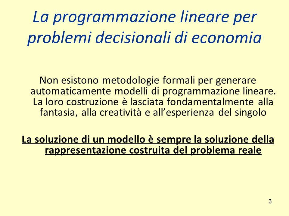 33 Non esistono metodologie formali per generare automaticamente modelli di programmazione lineare.