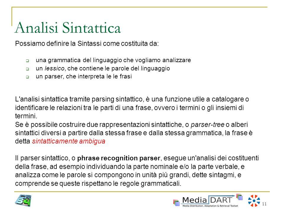 11 Analisi Sintattica Possiamo definire la Sintassi come costituita da: una grammatica del linguaggio che vogliamo analizzare un lessico, che contiene