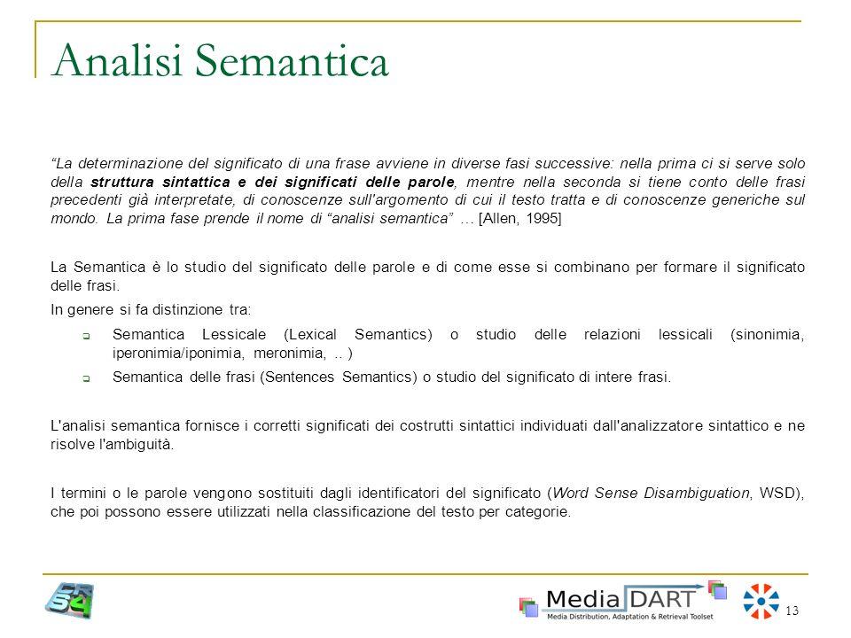 13 Analisi Semantica La determinazione del significato di una frase avviene in diverse fasi successive: nella prima ci si serve solo della struttura s