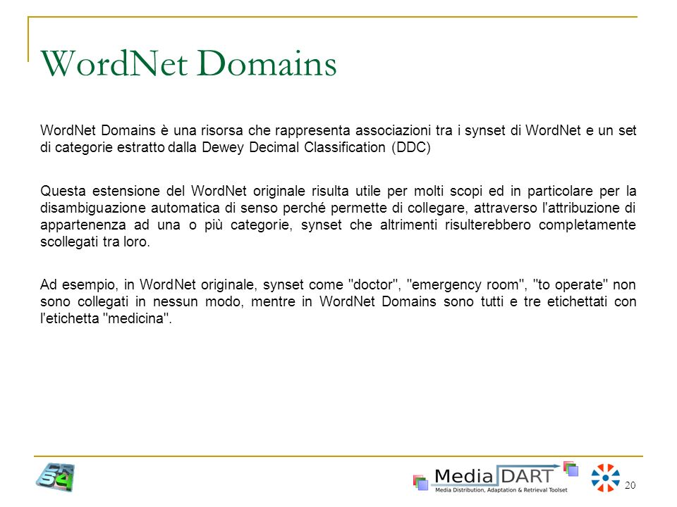 20 WordNet Domains WordNet Domains è una risorsa che rappresenta associazioni tra i synset di WordNet e un set di categorie estratto dalla Dewey Decim