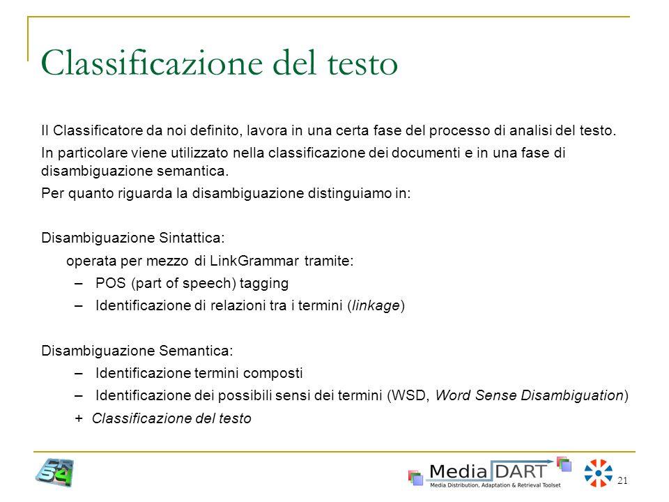 21 Classificazione del testo Il Classificatore da noi definito, lavora in una certa fase del processo di analisi del testo. In particolare viene utili