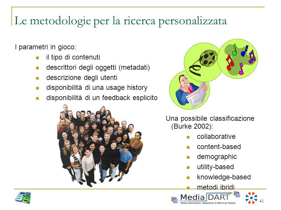 41 Le metodologie per la ricerca personalizzata I parametri in gioco: il tipo di contenuti descrittori degli oggetti (metadati) descrizione degli uten