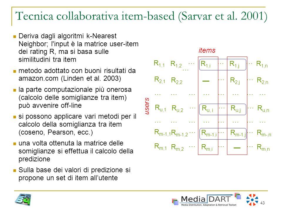43 Tecnica collaborativa item-based (Sarvar et al. 2001) … R 1,1 R 1,2 … R 1,i … R 1,j … R 1,n R 2,1 R 2,2 … R 2,j … R 2,n ……… R u,1 R u,2 … R u, i …