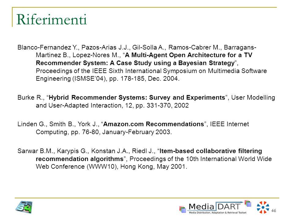 46 Riferimenti Blanco-Fernandez Y., Pazos-Arias J.J., Gil-Solla A., Ramos-Cabrer M., Barragans- Martinez B., Lopez-Nores M., A Multi-Agent Open Archit