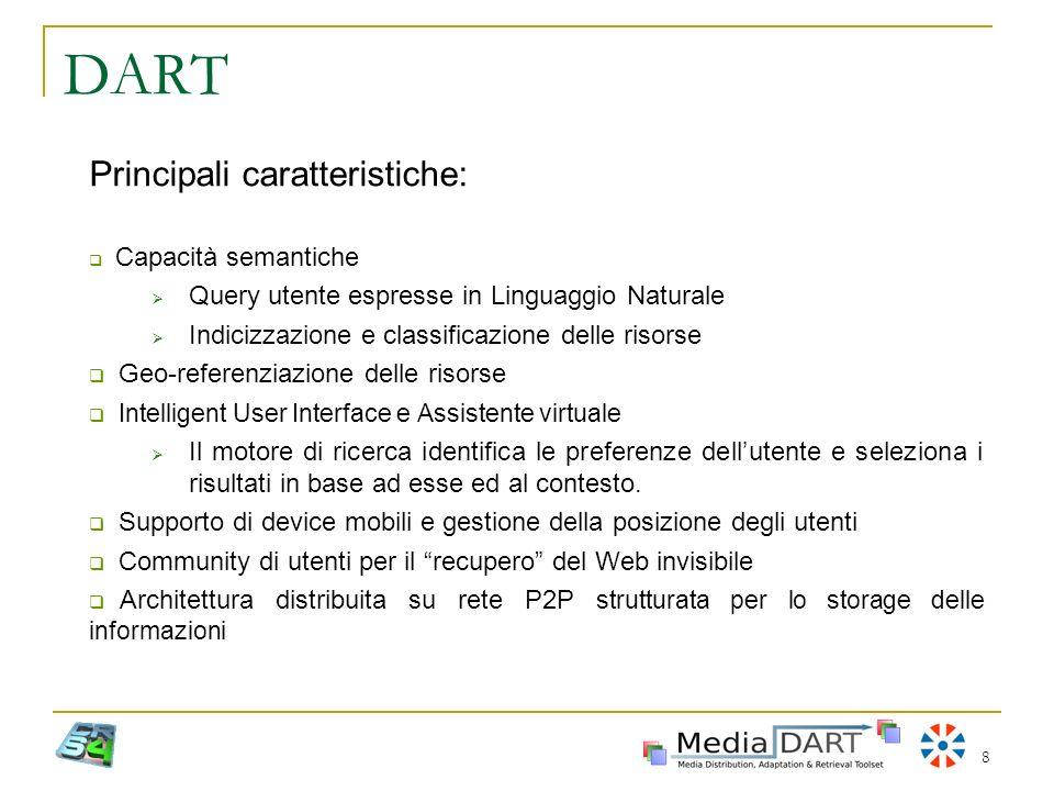 8 DART Principali caratteristiche: Capacità semantiche Query utente espresse in Linguaggio Naturale Indicizzazione e classificazione delle risorse Geo