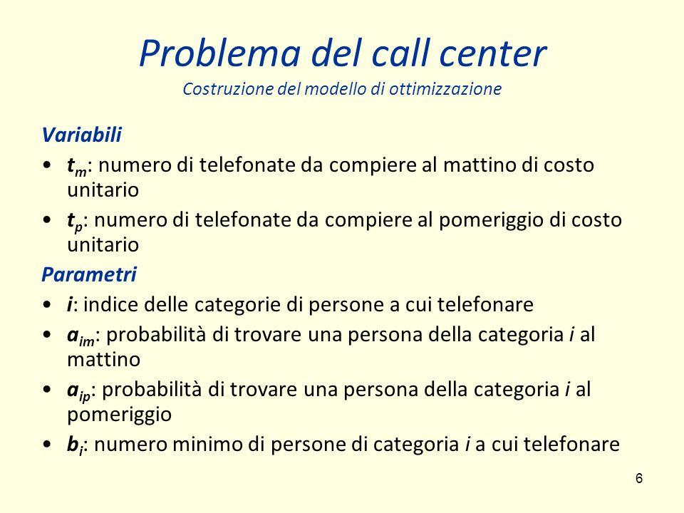6 Problema del call center Costruzione del modello di ottimizzazione Variabili t m : numero di telefonate da compiere al mattino di costo unitario t p