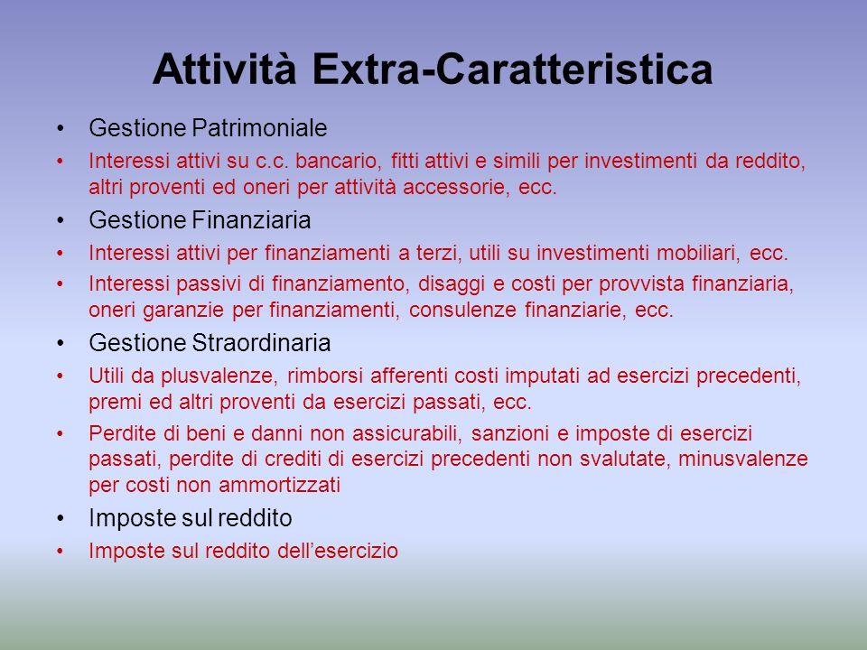 Attività Extra-Caratteristica Gestione Patrimoniale Interessi attivi su c.c. bancario, fitti attivi e simili per investimenti da reddito, altri proven