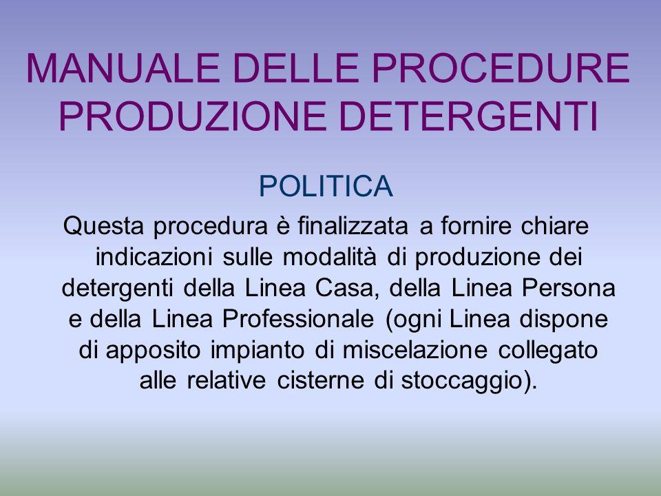 MANUALE DELLE PROCEDURE PRODUZIONE DETERGENTI POLITICA Questa procedura è finalizzata a fornire chiare indicazioni sulle modalità di produzione dei de