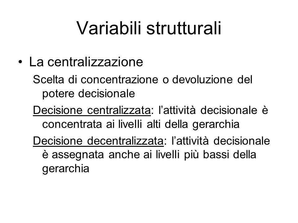 Variabili strutturali La centralizzazione Scelta di concentrazione o devoluzione del potere decisionale Decisione centralizzata: lattività decisionale