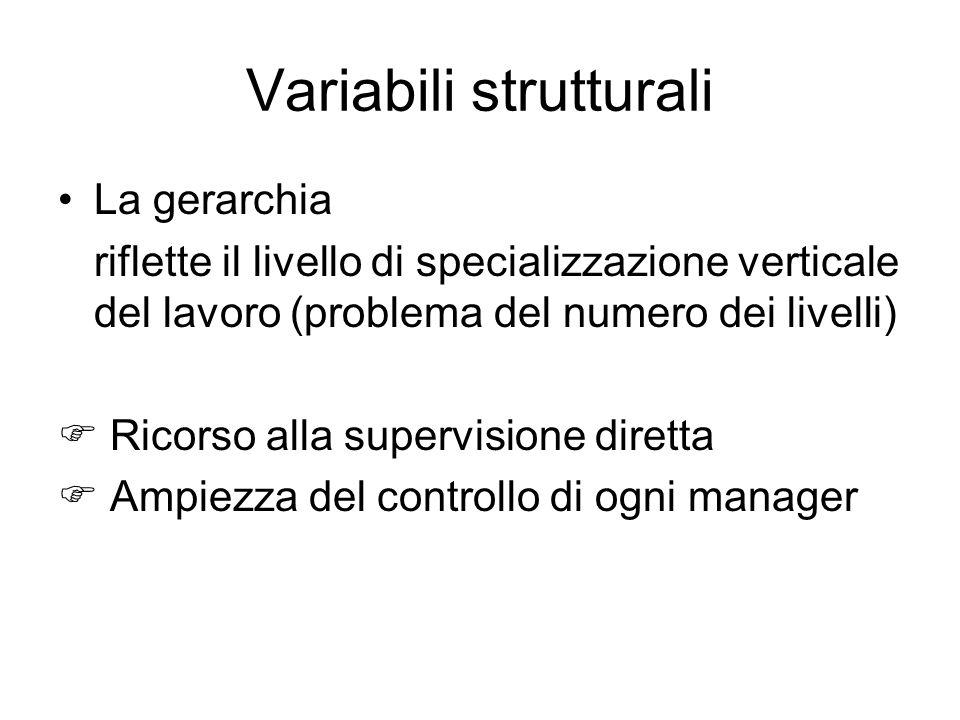 Variabili strutturali La gerarchia riflette il livello di specializzazione verticale del lavoro (problema del numero dei livelli) Ricorso alla supervi
