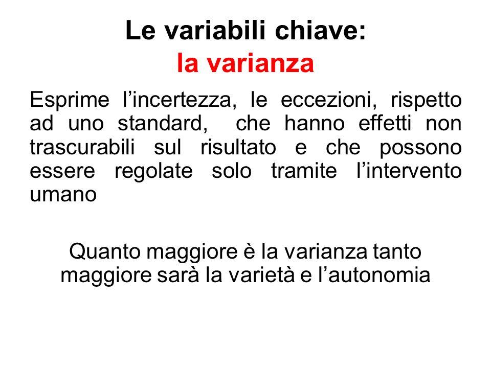 Le variabili chiave: la varianza Esprime lincertezza, le eccezioni, rispetto ad uno standard, che hanno effetti non trascurabili sul risultato e che p
