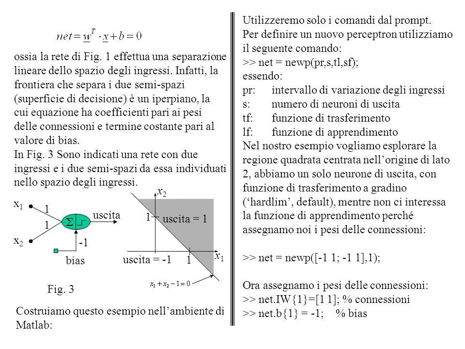 Osserviamo come viene mappato lo spazio degli ingressi: >> x = -1:0.01:1; >> y = x; >> for i = 1:201, for j = 1:201, z(i,j) = sim(net, [x(i);y(j)]); end >> mesh(x,y,z) La rete che abbiamo costruito mappa lo spazio degli ingressi nei due valori 1 e 0, perché per default viene assunta la funzione di soglia con questi valori delluscita.