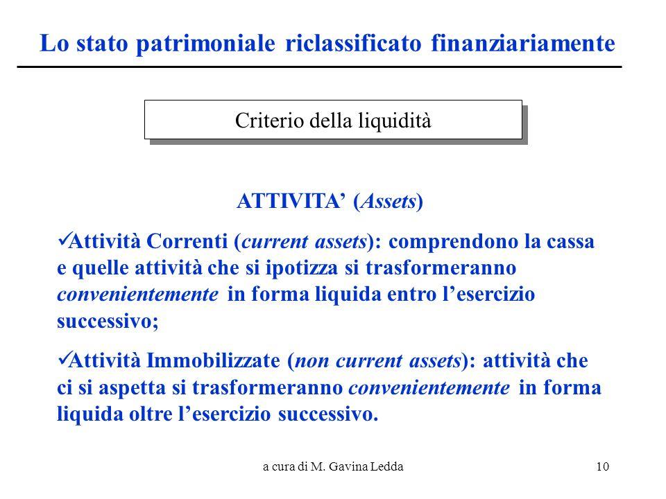 a cura di M. Gavina Ledda10 Lo stato patrimoniale riclassificato finanziariamente Criterio della liquidità ATTIVITA (Assets) Attività Correnti (curren