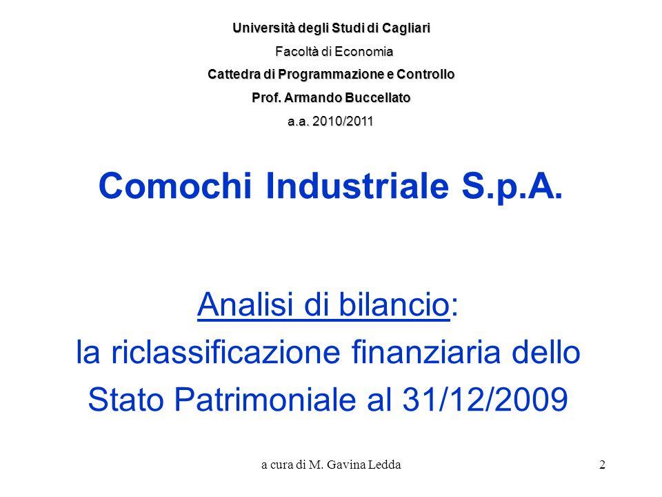 a cura di M. Gavina Ledda2 Comochi Industriale S.p.A. Analisi di bilancio: la riclassificazione finanziaria dello Stato Patrimoniale al 31/12/2009 Uni