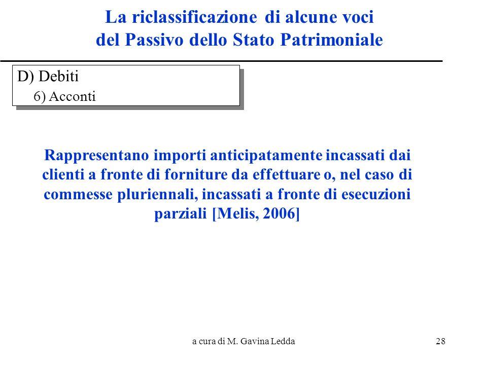 a cura di M. Gavina Ledda28 La riclassificazione di alcune voci del Passivo dello Stato Patrimoniale Rappresentano importi anticipatamente incassati d