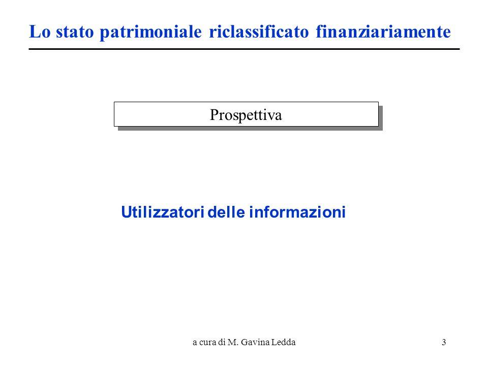 a cura di M. Gavina Ledda3 Lo stato patrimoniale riclassificato finanziariamente Prospettiva Utilizzatori delle informazioni