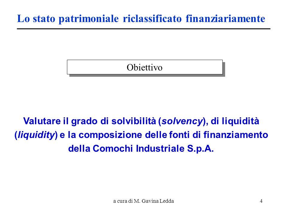 a cura di M. Gavina Ledda4 Lo stato patrimoniale riclassificato finanziariamente Valutare il grado di solvibilità (solvency), di liquidità (liquidity)
