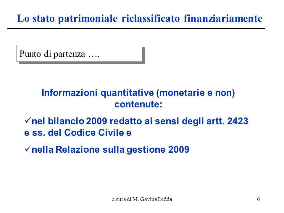 a cura di M. Gavina Ledda6 Lo stato patrimoniale riclassificato finanziariamente Punto di partenza …. Informazioni quantitative (monetarie e non) cont