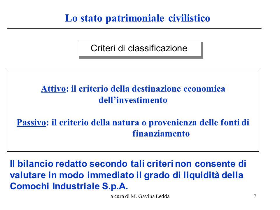 a cura di M. Gavina Ledda7 Lo stato patrimoniale civilistico Criteri di classificazione Attivo: il criterio della destinazione economica dellinvestime