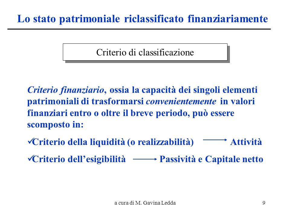 a cura di M. Gavina Ledda9 Lo stato patrimoniale riclassificato finanziariamente Criterio di classificazione Criterio finanziario, ossia la capacità d