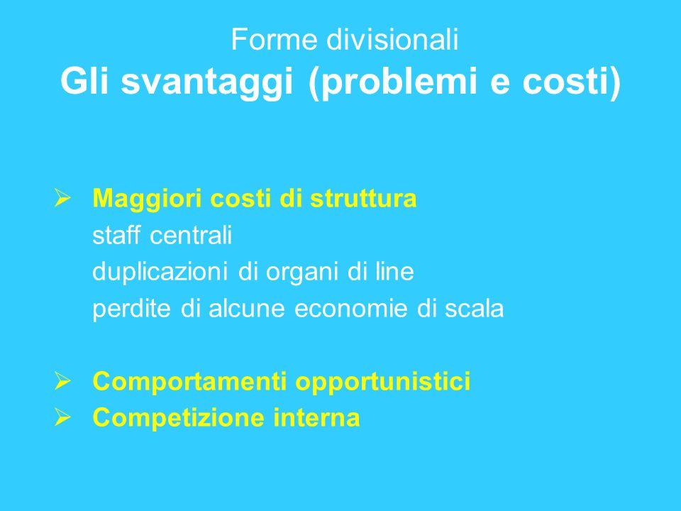 Forme divisionali Gli svantaggi (problemi e costi) Maggiori costi di struttura staff centrali duplicazioni di organi di line perdite di alcune economi