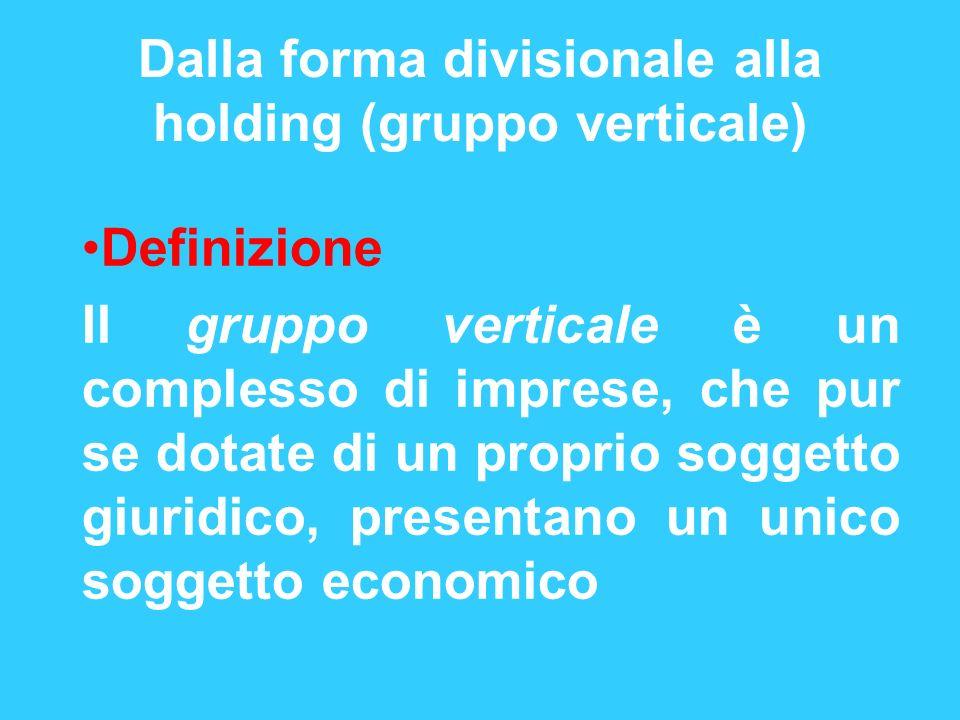 Dalla forma divisionale alla holding (gruppo verticale) Definizione Il gruppo verticale è un complesso di imprese, che pur se dotate di un proprio sog