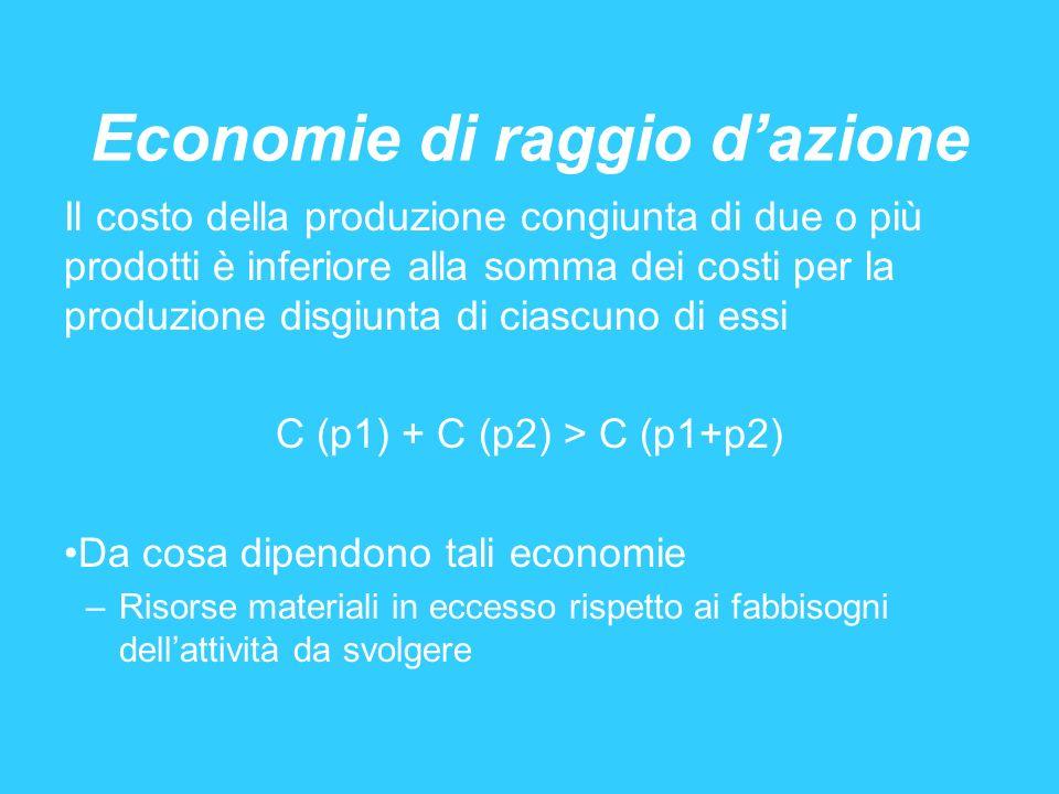 Economie di raggio dazione Il costo della produzione congiunta di due o più prodotti è inferiore alla somma dei costi per la produzione disgiunta di c